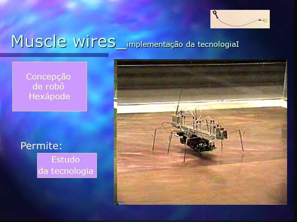 Muscle wires_ príncipios de funcionamento A resistência do fio à corrente eléctrica gera uma fonte de calor. Passagem de corrente Aquecimento do fio M