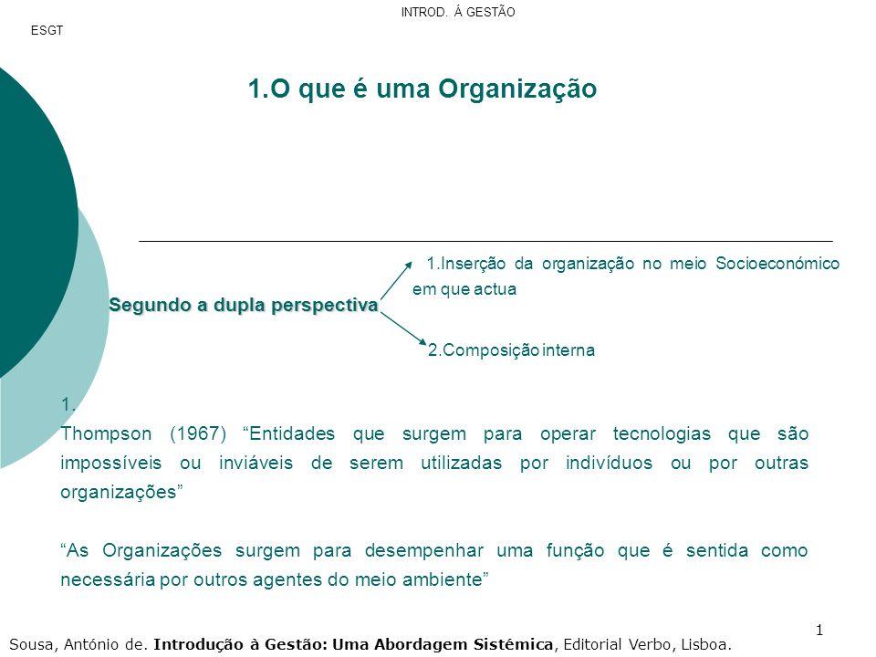 22 Envolvente Contextual Organização encontra-se em dependência Envolvente Transaccional Organização encontra-se num processo mutuo de influenciação ESGT INTROD.