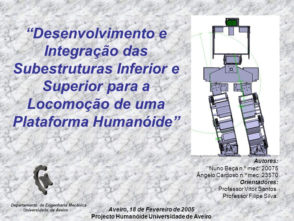 Desenvolvimento e Integração das Subestruturas Inferior e Superior para a Locomoção de uma Plataforma Humanóide Autores: Nuno Beça n.º mec: 20075 Ânge