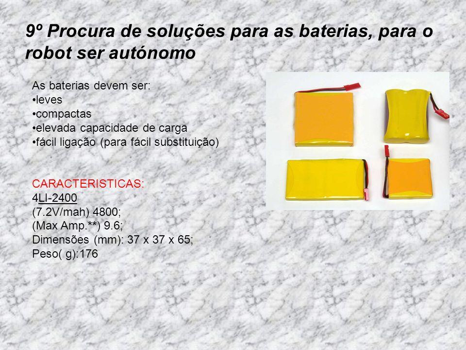 9º Procura de soluções para as baterias, para o robot ser autónomo As baterias devem ser: leves compactas elevada capacidade de carga fácil ligação (p