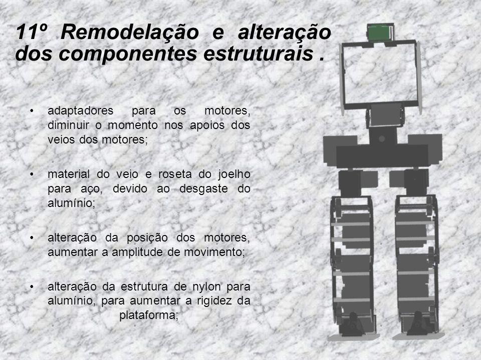 11º Remodelação e alteração dos componentes estruturais. adaptadores para os motores, diminuir o momento nos apoios dos veios dos motores; material do