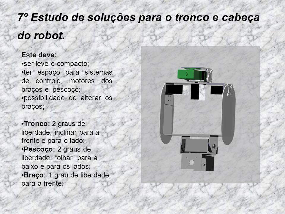 7º Estudo de soluções para o tronco e cabeça do robot. Este deve: ser leve e compacto; ter espaço para sistemas de controlo, motores dos braços e pesc