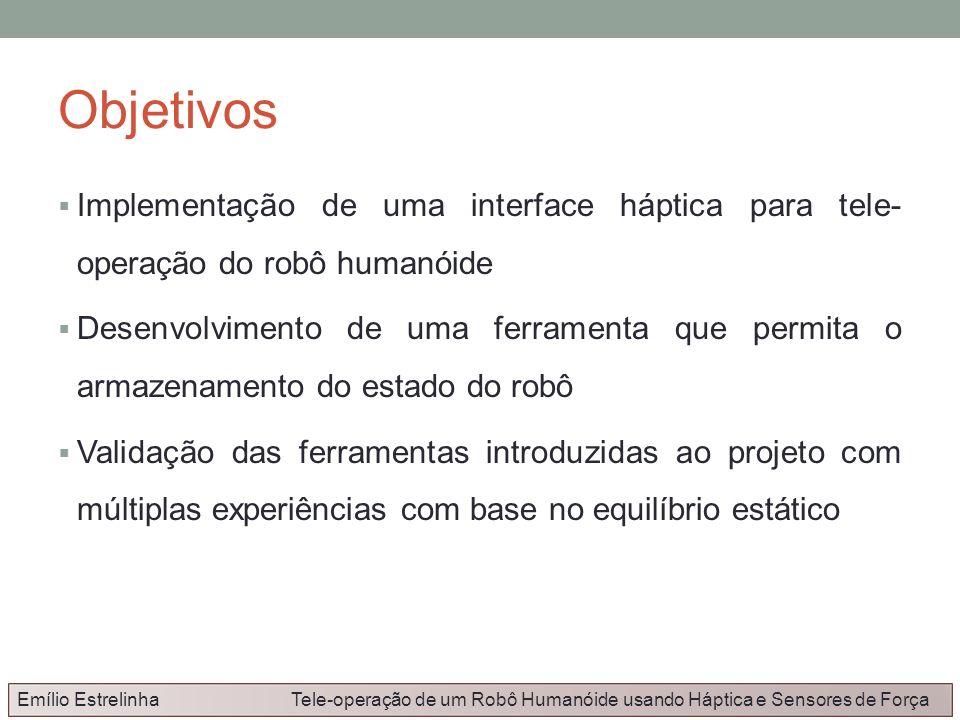 Objetivos Implementação de uma interface háptica para tele- operação do robô humanóide Desenvolvimento de uma ferramenta que permita o armazenamento d