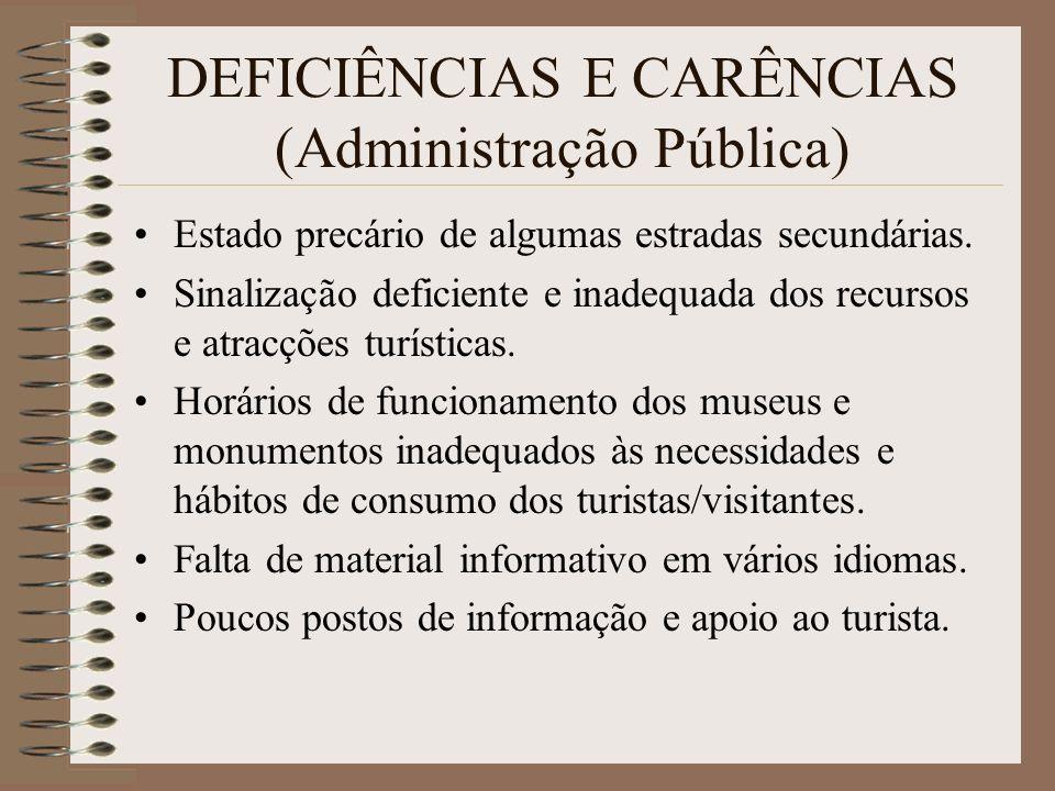 DEFICIÊNCIAS E CARÊNCIAS (Administração Pública) Estado precário de algumas estradas secundárias. Sinalização deficiente e inadequada dos recursos e a