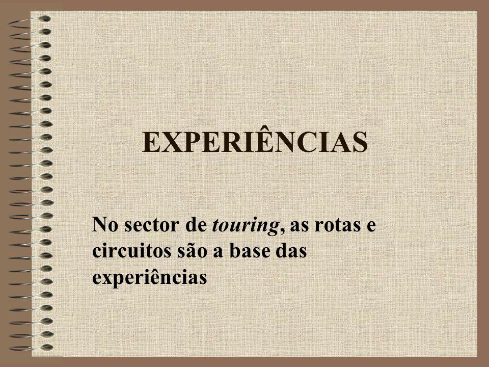 EXPERIÊNCIAS No sector de touring, as rotas e circuitos são a base das experiências