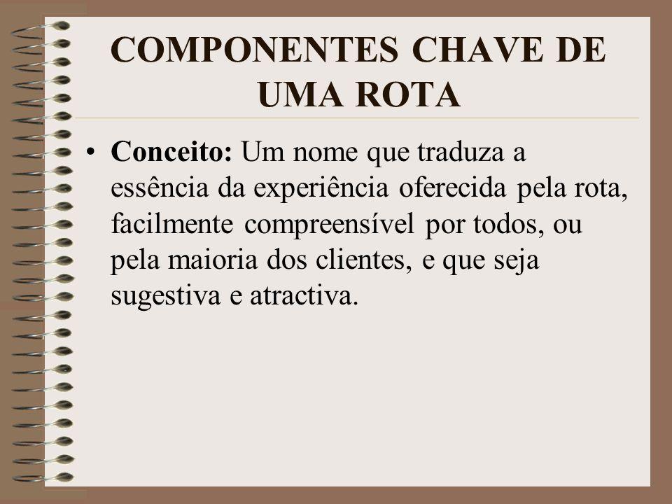 COMPONENTES CHAVE DE UMA ROTA Conceito: Um nome que traduza a essência da experiência oferecida pela rota, facilmente compreensível por todos, ou pela