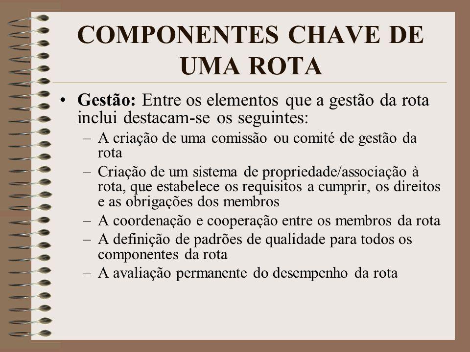 COMPONENTES CHAVE DE UMA ROTA Gestão: Entre os elementos que a gestão da rota inclui destacam-se os seguintes: –A criação de uma comissão ou comité de