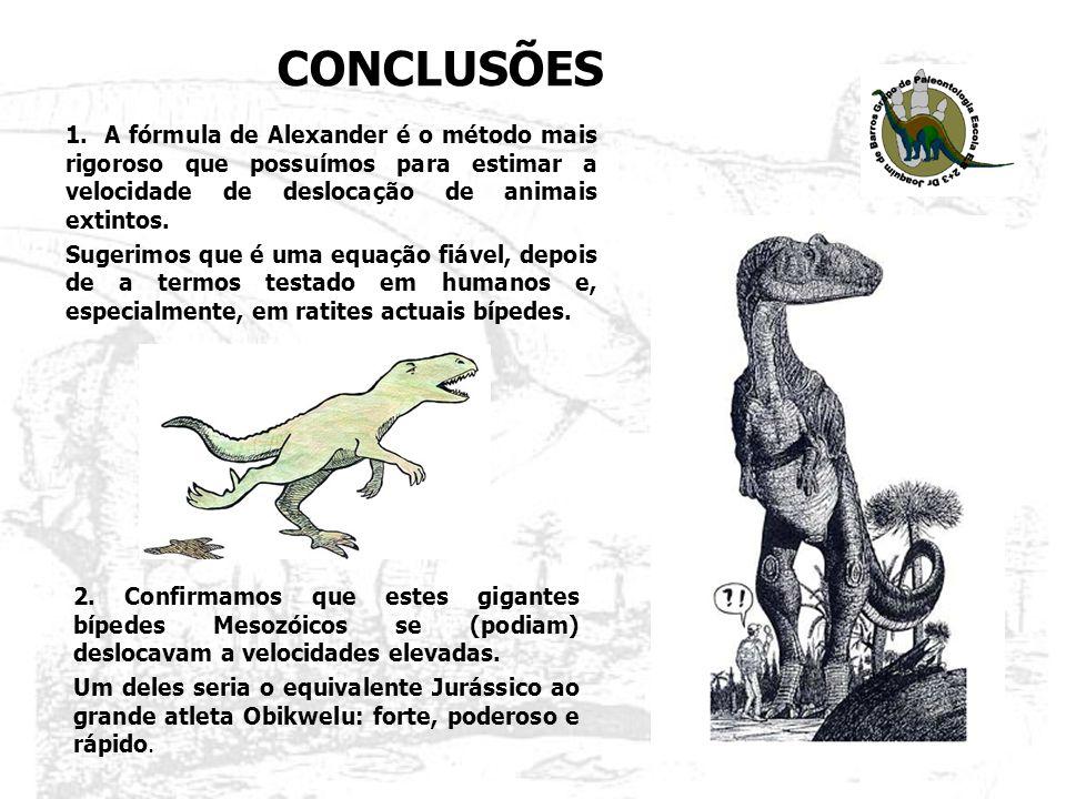 2. Confirmamos que estes gigantes bípedes Mesozóicos se (podiam) deslocavam a velocidades elevadas. Um deles seria o equivalente Jurássico ao grande a