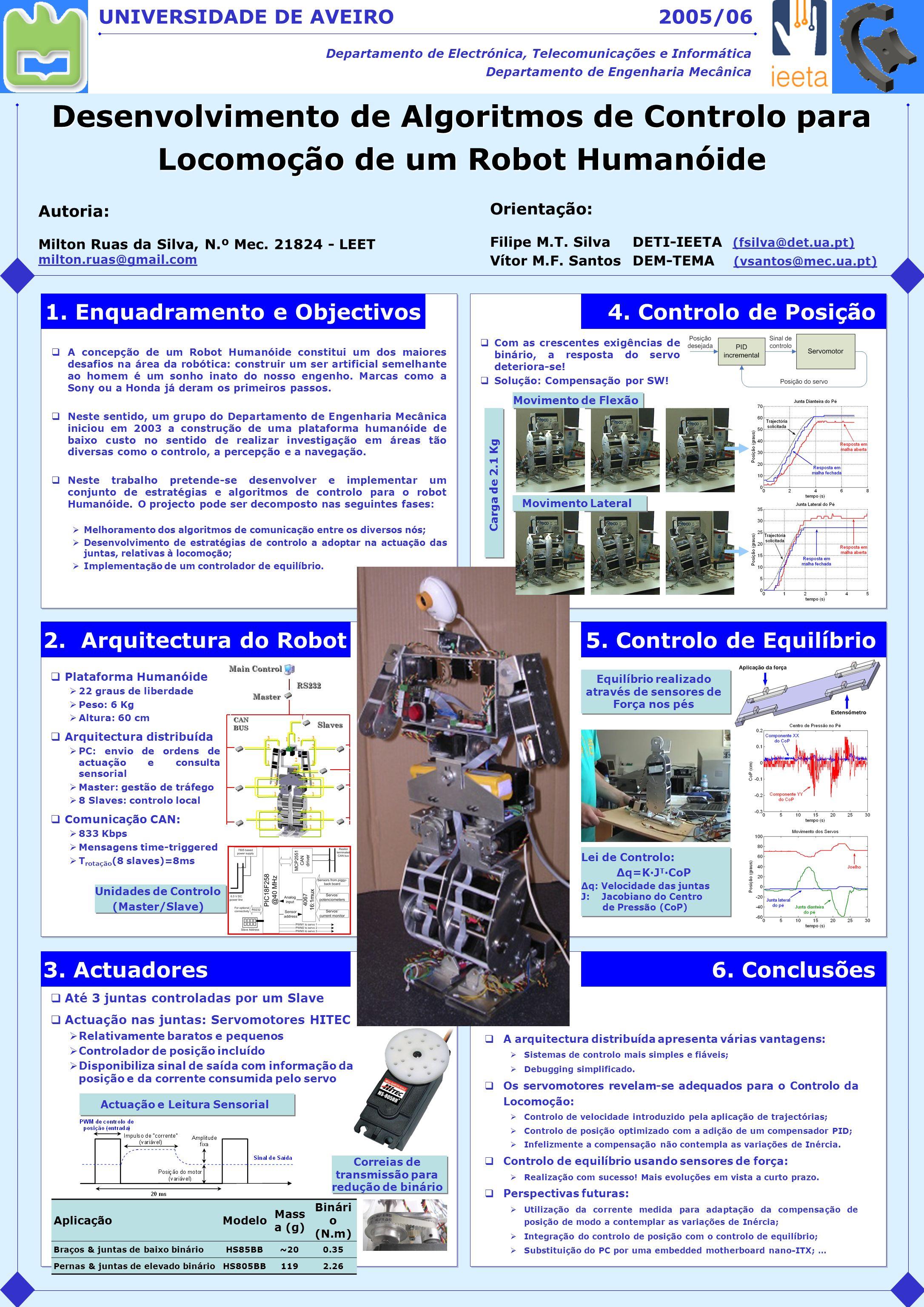 Desenvolvimento de Algoritmos de Controlo para Locomoção de um Robot Humanóide UNIVERSIDADE DE AVEIRO Departamento de Electrónica, Telecomunicações e
