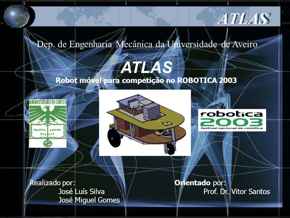 ATLAS O objectivo principal é o desenvolvimento de um robot móvel para competir na classe de Universidades e Institutos politécnicos do Festival Nacional de Robótica – ROBOTICA2003.