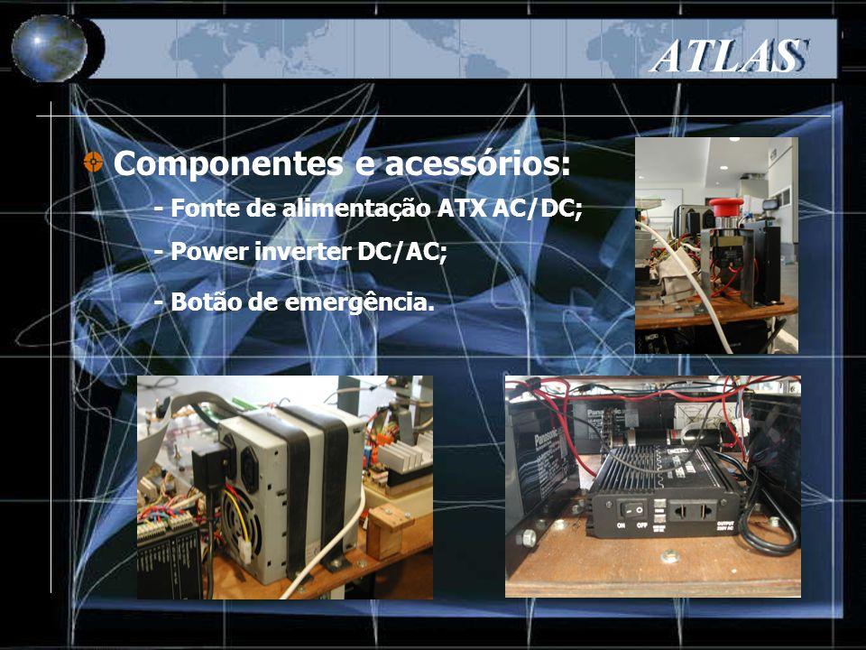 Componentes e acessórios: ATLAS - Fonte de alimentação ATX AC/DC; - Power inverter DC/AC; - Botão de emergência.