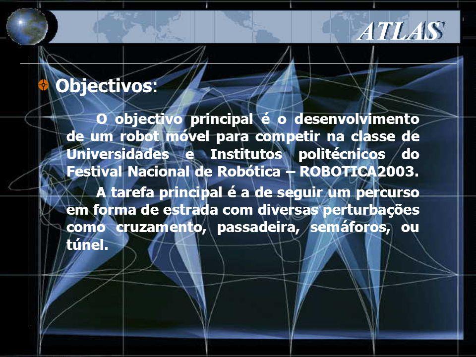 ATLAS Determinamos o número de rotações por minuto à saída: Sistema de forças aplicadas ao robot: Determinação do binário e potência necessária: Com base nestes resultados, o motor escolhido foi o MAXON RE40: - Potência debitada (150W a 7580r.p.m.) - Binário do motor (181mN.m) - Caixa redutora 1:15 (redução total=1:30)