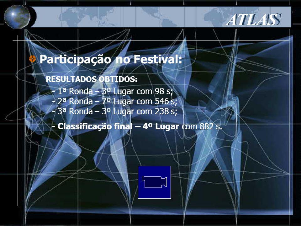 Participação no Festival: ATLAS - 1ª Ronda – 3º Lugar com 98 s; - 2ª Ronda – 7º Lugar com 546 s; - 3ª Ronda – 3º Lugar com 238 s; - Classificação final – 4º Lugar com 882 s.