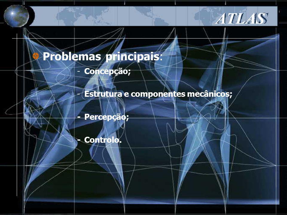 ATLAS -Concepção; -Estrutura e componentes mecânicos; -Percepção; -Controlo. Problemas principais: