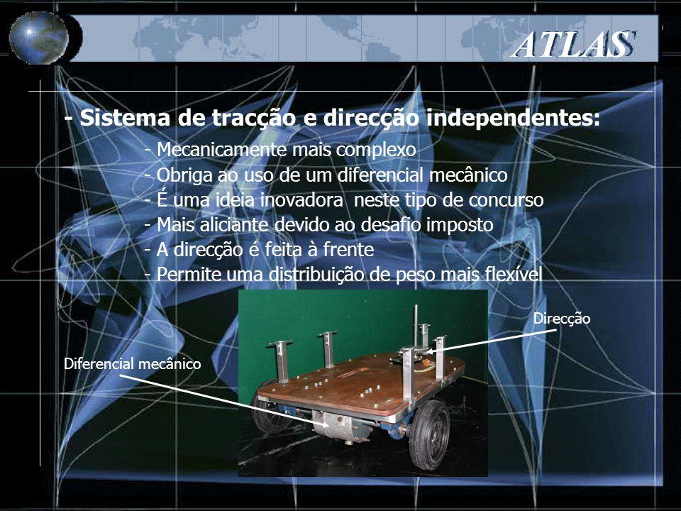 ATLAS - Mecanicamente mais complexo - Obriga ao uso de um diferencial mecânico - É uma ideia inovadora neste tipo de concurso - Mais aliciante devido ao desafio imposto - A direcção é feita à frente - Permite uma distribuição de peso mais flexível - Sistema de tracção e direcção independentes: Diferencial mecânico Direcção