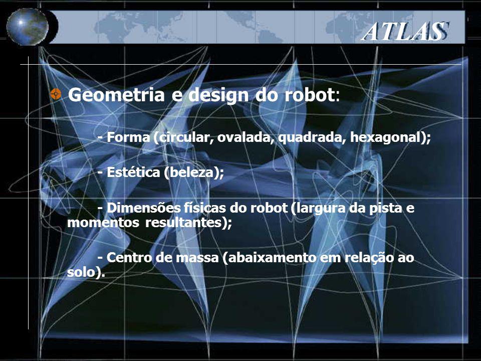 - Forma (circular, ovalada, quadrada, hexagonal); - Estética (beleza); - Dimensões físicas do robot (largura da pista e momentos resultantes); - Centro de massa (abaixamento em relação ao solo).