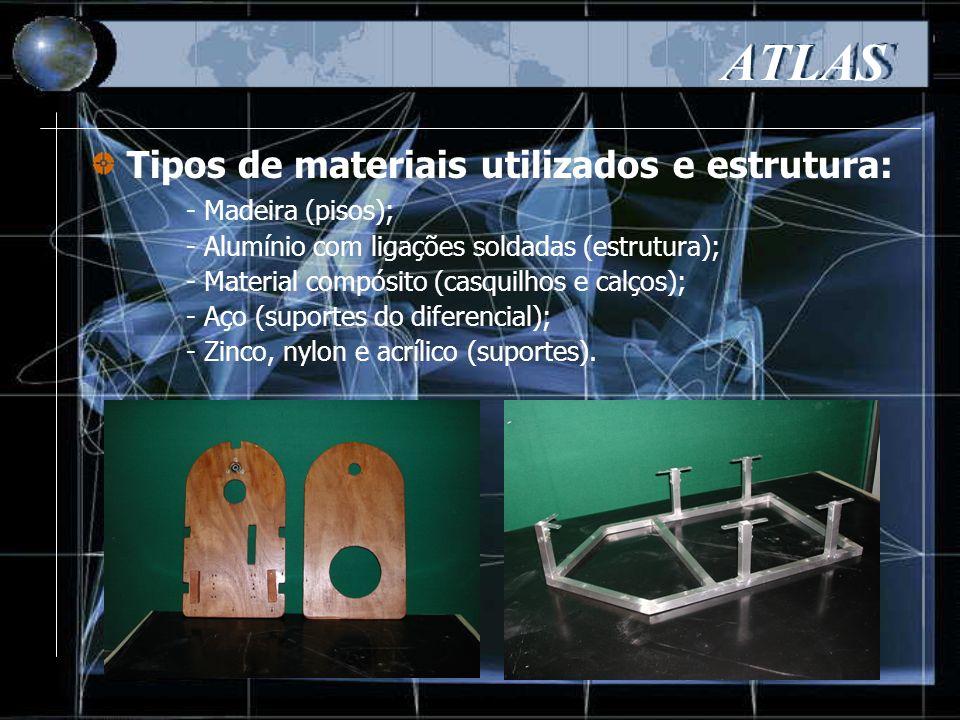 - Madeira (pisos); - Alumínio com ligações soldadas (estrutura); - Material compósito (casquilhos e calços); - Aço (suportes do diferencial); - Zinco, nylon e acrílico (suportes).
