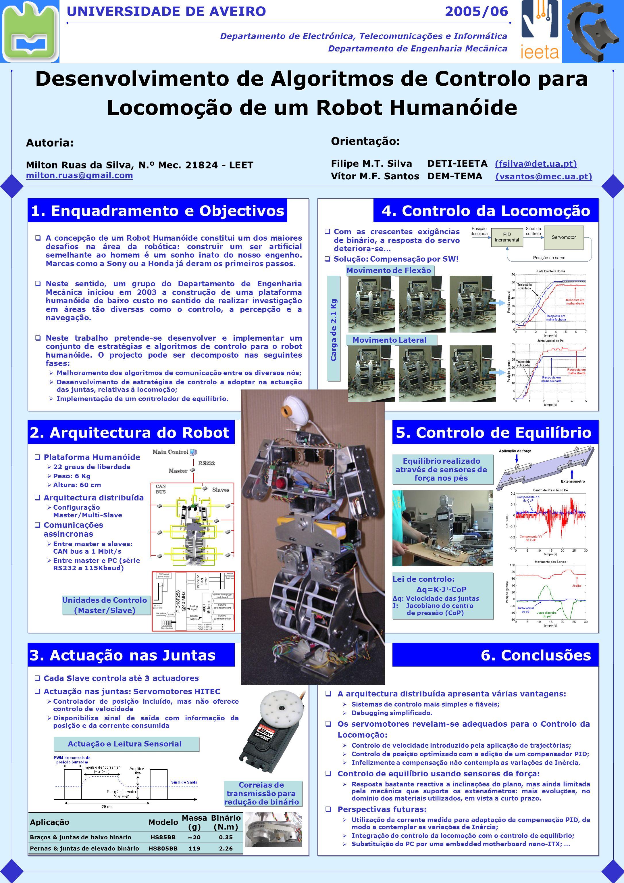 Desenvolvimento de Algoritmos de Controlo para Locomoção de um Robot Humanóide UNIVERSIDADE DE AVEIRO Departamento de Electrónica, Telecomunicações e Informática Departamento de Engenharia Mecânica 3.