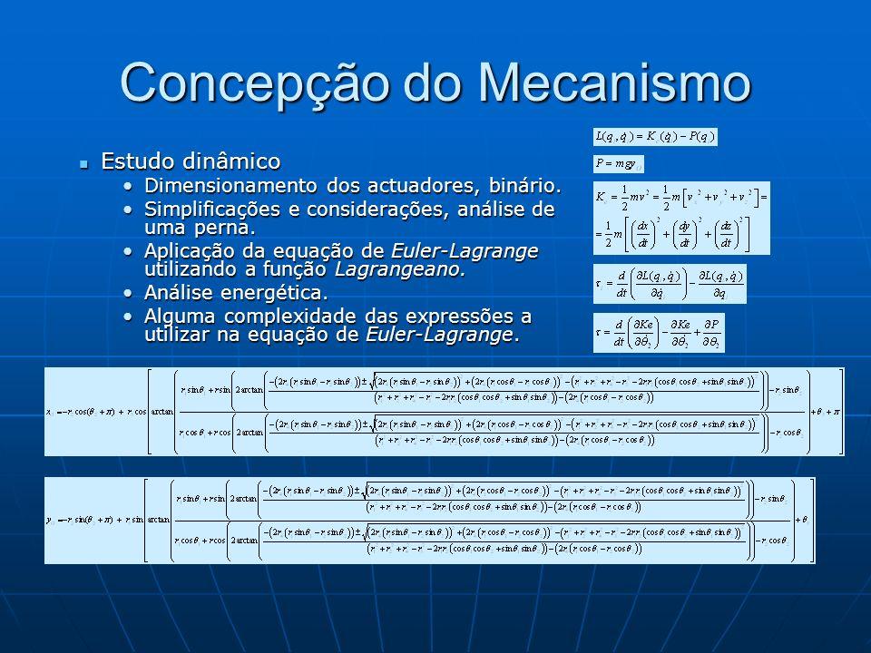 Concepção do Mecanismo Estudo dinâmico (cont.) Estudo dinâmico (cont.) Diferenciação e cálculos simbólicos efectuada utilizando o software MatLab.Diferenciação e cálculos simbólicos efectuada utilizando o software MatLab.