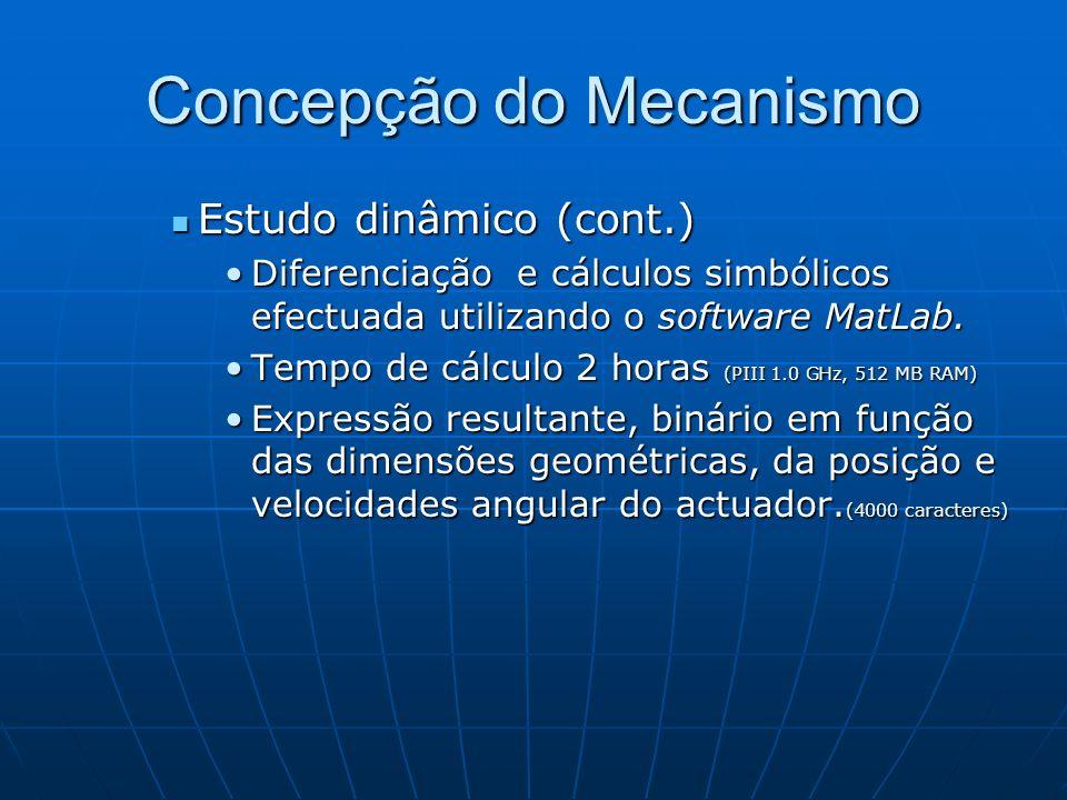 Concepção do Mecanismo Estudo dinâmico (cont.) Estudo dinâmico (cont.) Diferenciação e cálculos simbólicos efectuada utilizando o software MatLab.Dife
