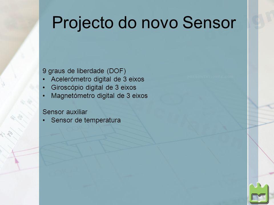Projecto do novo Sensor 9 graus de liberdade (DOF) Acelerómetro digital de 3 eixos Giroscópio digital de 3 eixos Magnetómetro digital de 3 eixos Senso