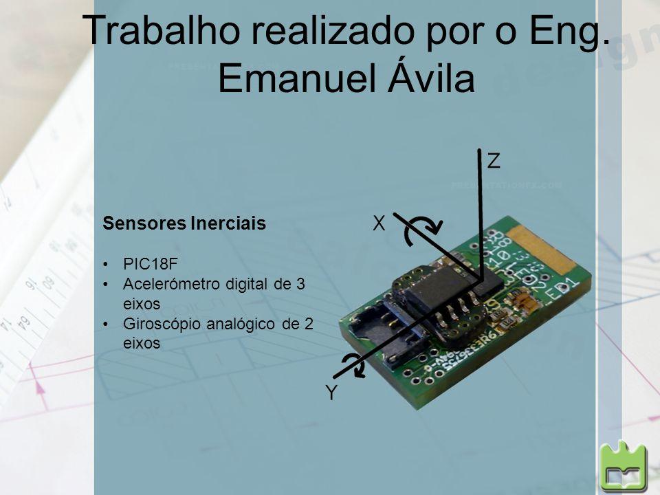 Trabalho realizado por o Eng. Emanuel Ávila Sensores Inerciais PIC18F Acelerómetro digital de 3 eixos Giroscópio analógico de 2 eixos