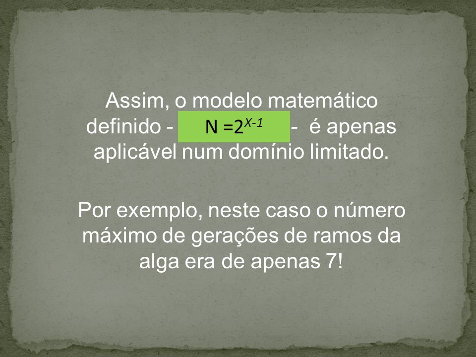Assim, o modelo matemático definido - - é apenas aplicável num domínio limitado. Por exemplo, neste caso o número máximo de gerações de ramos da alga