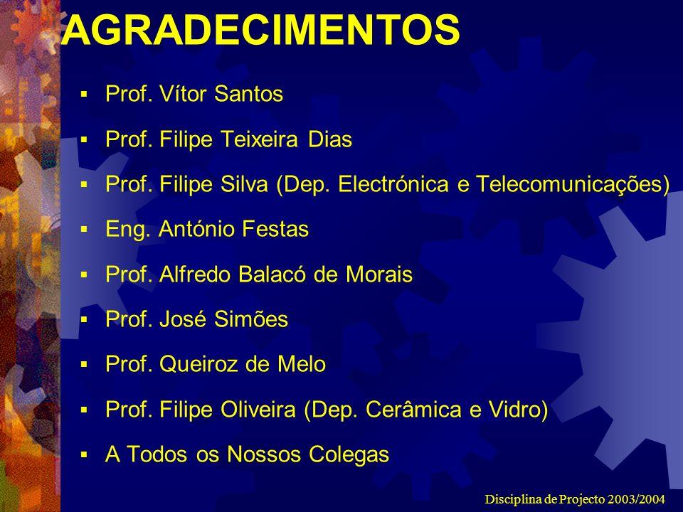 Disciplina de Projecto 2003/2004 AGRADECIMENTOS Prof.