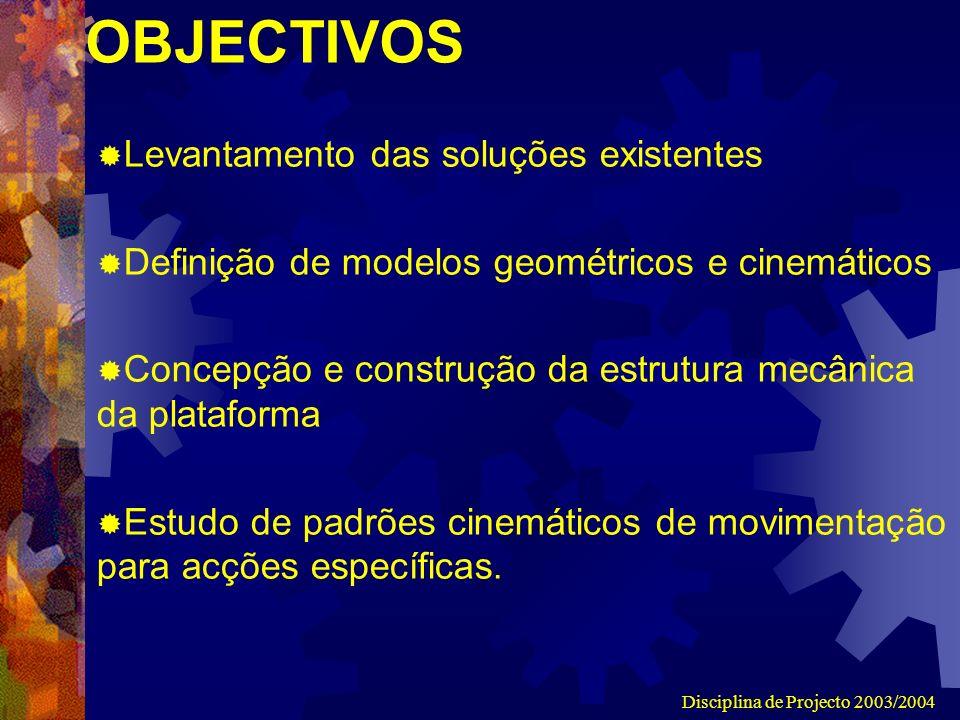 Disciplina de Projecto 2003/2004 OBJECTIVOS Levantamento das soluções existentes Definição de modelos geométricos e cinemáticos Concepção e construção da estrutura mecânica da plataforma Estudo de padrões cinemáticos de movimentação para acções específicas.