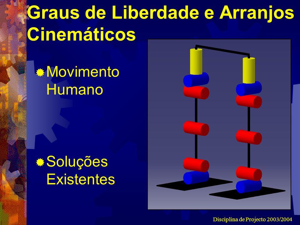 Disciplina de Projecto 2003/2004 Graus de Liberdade e Arranjos Cinemáticos Movimento Humano Soluções Existentes