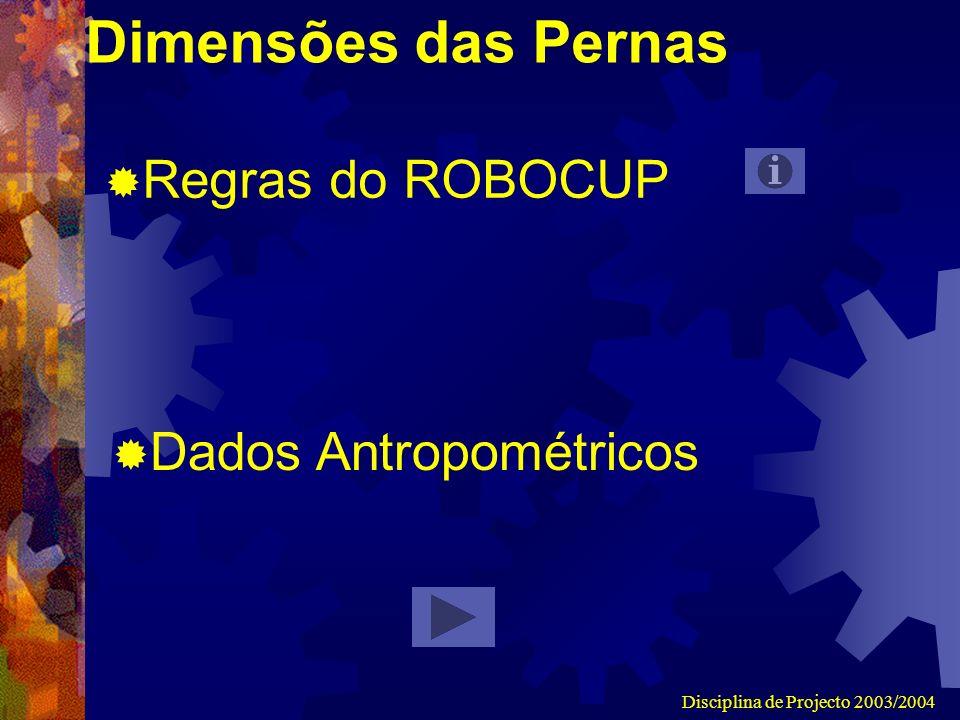 Disciplina de Projecto 2003/2004 Dimensões das Pernas Regras do ROBOCUP Dados Antropométricos