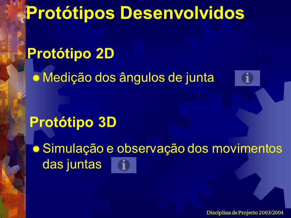 Disciplina de Projecto 2003/2004 Protótipos Desenvolvidos Medição dos ângulos de junta Simulação e observação dos movimentos das juntas Protótipo 2D Protótipo 3D