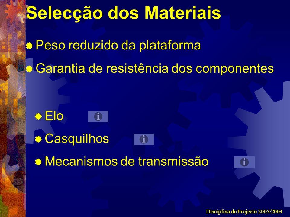 Disciplina de Projecto 2003/2004 Selecção dos Materiais Peso reduzido da plataforma Garantia de resistência dos componentes Elo Casquilhos Mecanismos de transmissão