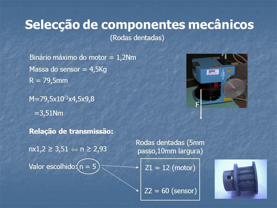R F Binário máximo do motor = 1,2Nm Massa do sensor = 4,5Kg R = 79,5mm M=79,5x10 -3 x4,5x9,8 =3,51Nm Relação de transmissão: nx1,2 3,51 n 2,93 Valor e