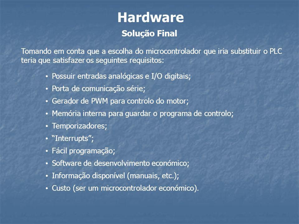 Solução Final Hardware Tomando em conta que a escolha do microcontrolador que iria substituir o PLC teria que satisfazer os seguintes requisitos: Gera