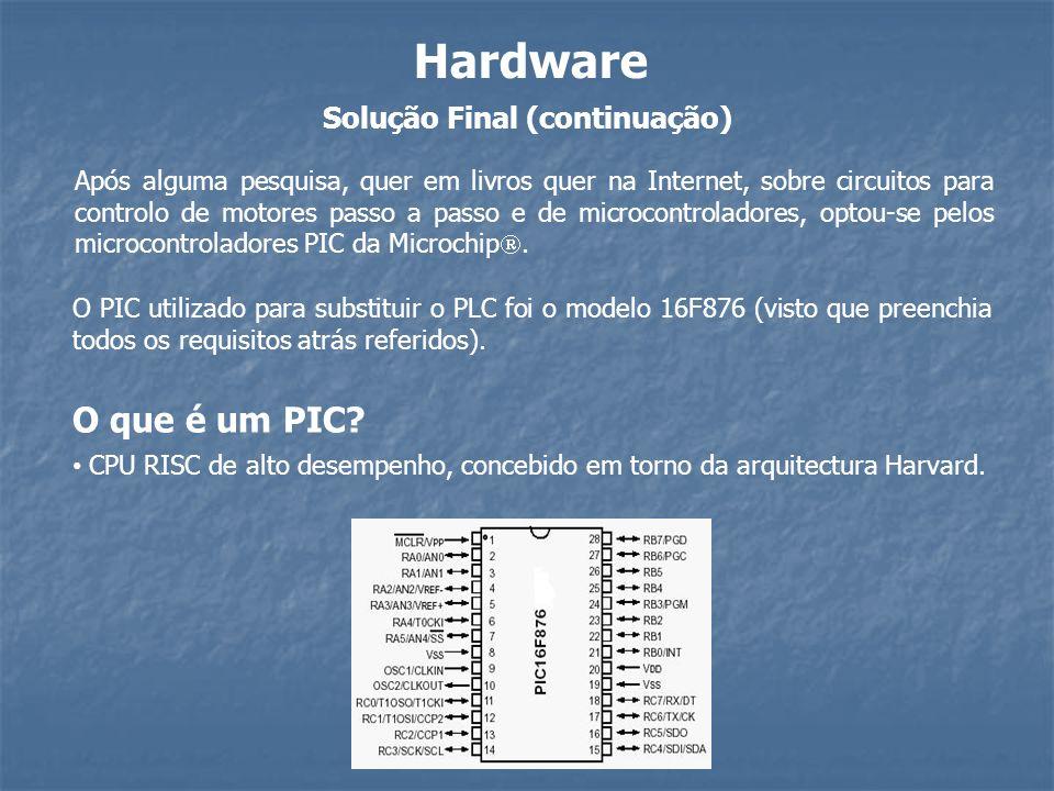 Solução Final (continuação) Hardware O que é um PIC? CPU RISC de alto desempenho, concebido em torno da arquitectura Harvard. Após alguma pesquisa, qu