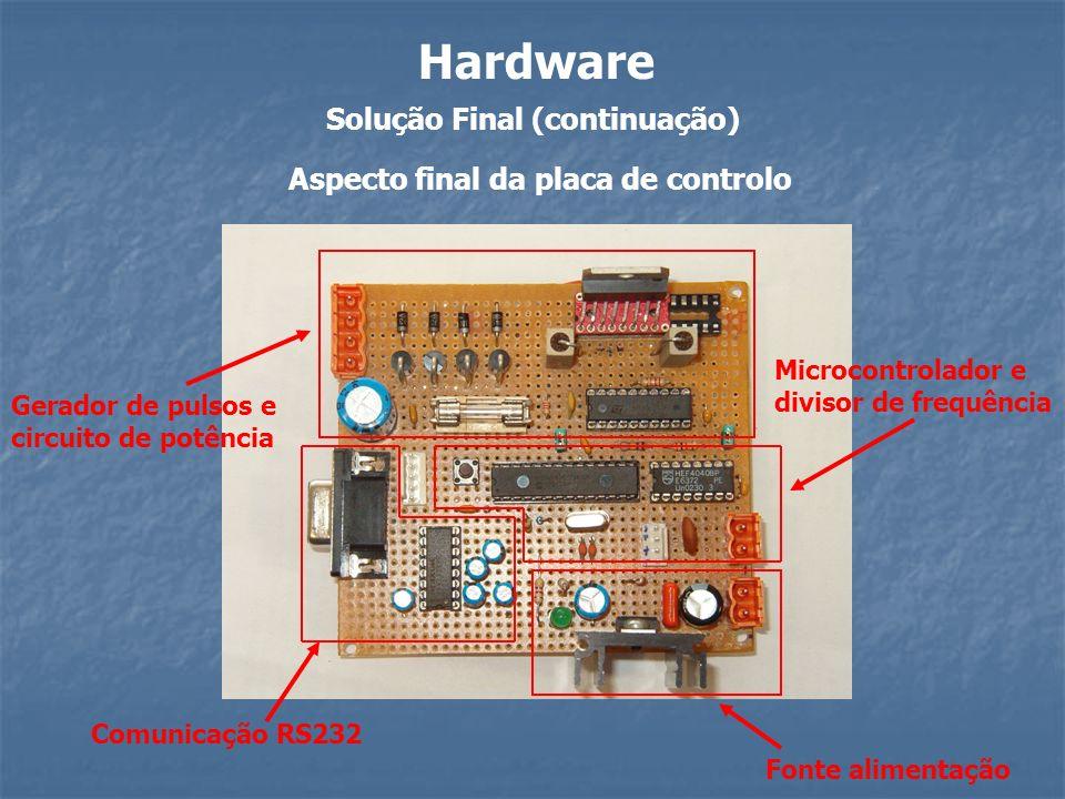 Solução Final (continuação) Hardware Comunicação RS232 Fonte alimentação Microcontrolador e divisor de frequência Gerador de pulsos e circuito de potê
