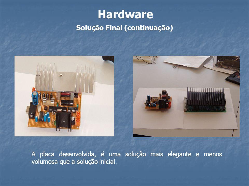 Solução Final (continuação) Hardware A placa desenvolvida, é uma solução mais elegante e menos volumosa que a solução inicial.