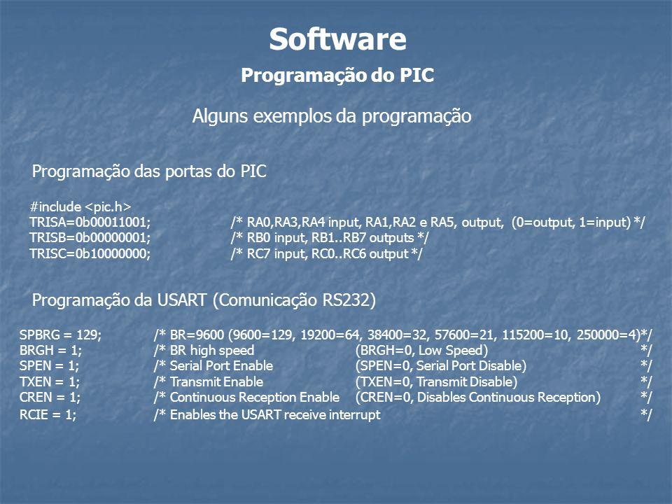 Programação do PIC Software Alguns exemplos da programação #include TRISA=0b00011001; /* RA0,RA3,RA4 input, RA1,RA2 e RA5, output, (0=output, 1=input)