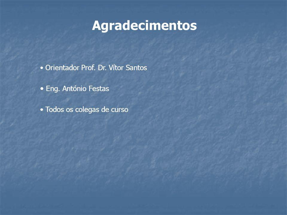 Agradecimentos Orientador Prof. Dr. Vítor Santos Eng. António Festas Todos os colegas de curso