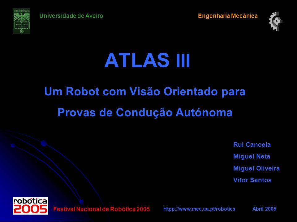 ATLAS III Um Robot com Visão Orientado para Provas de Condução Autónoma Rui Cancela Miguel Neta Miguel Oliveira Vitor Santos Universidade de AveiroEng