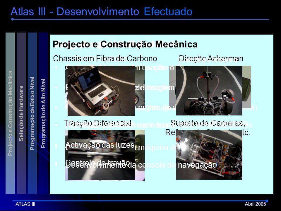 Controlo do motor de tracção Portátil centrinoChassis em Fibra de Carbono Processamento de imagem (ponto de destino em pista) Direção Ackerman Program