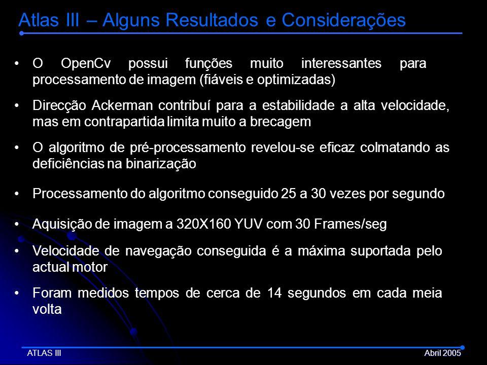 Atlas III – Alguns Resultados e Considerações Aquisição de imagem a 320X160 YUV com 30 Frames/seg Direcção Ackerman contribuí para a estabilidade a al