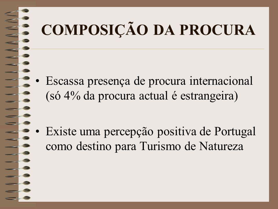 COMPOSIÇÃO DA PROCURA Escassa presença de procura internacional (só 4% da procura actual é estrangeira) Existe uma percepção positiva de Portugal como