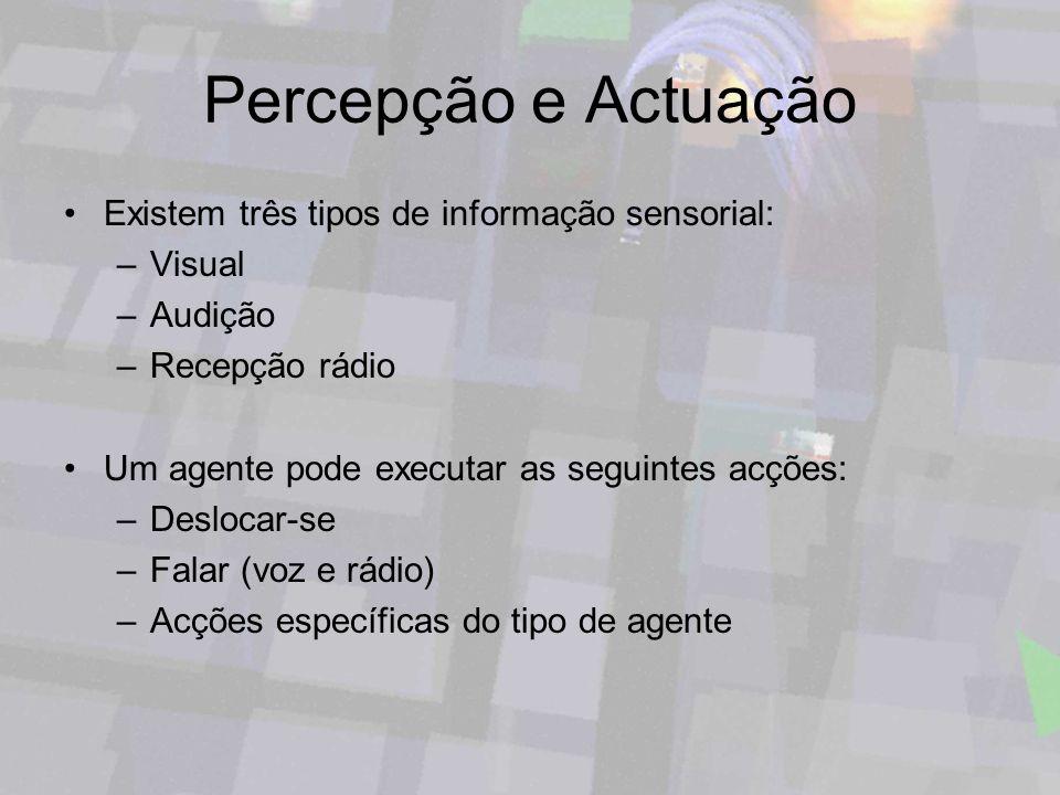 Percepção e Actuação Existem três tipos de informação sensorial: –Visual –Audição –Recepção rádio Um agente pode executar as seguintes acções: –Desloc