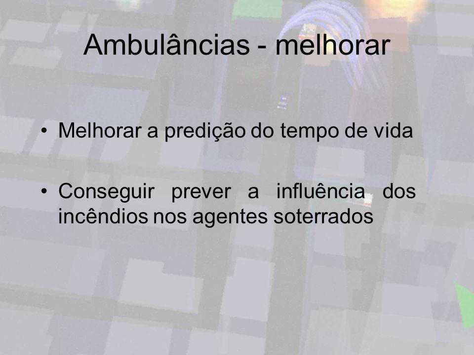 Ambulâncias - melhorar Melhorar a predição do tempo de vida Conseguir prever a influência dos incêndios nos agentes soterrados