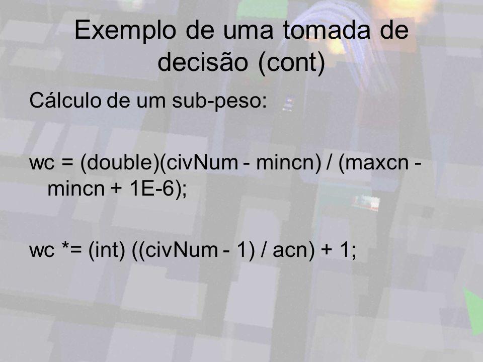 Exemplo de uma tomada de decisão (cont) Cálculo de um sub-peso: wc = (double)(civNum - mincn) / (maxcn - mincn + 1E-6); wc *= (int) ((civNum - 1) / ac