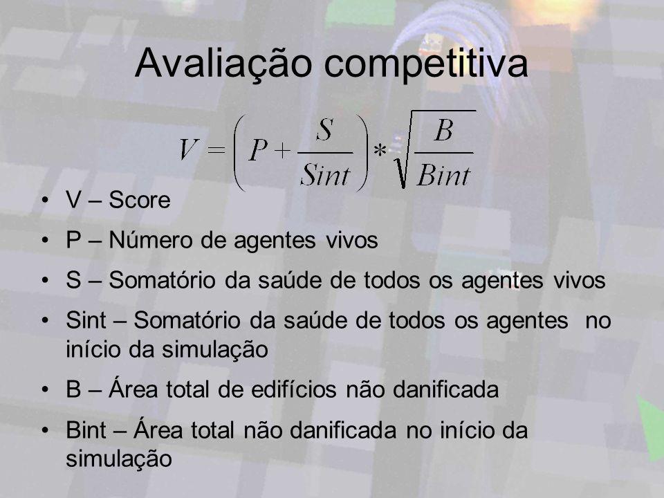 Avaliação competitiva V – Score P – Número de agentes vivos S – Somatório da saúde de todos os agentes vivos Sint – Somatório da saúde de todos os age