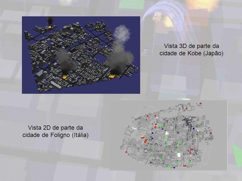 Vista 3D de parte da cidade de Kobe (Japão) Vista 2D de parte da cidade de Foligno (Itália)