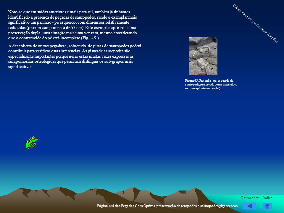 Note-se que em saídas anteriores e mais para sul, também já tinhamos identificado a presença de pegadas de sauropodes, sendo o exemplar mais sgnificat